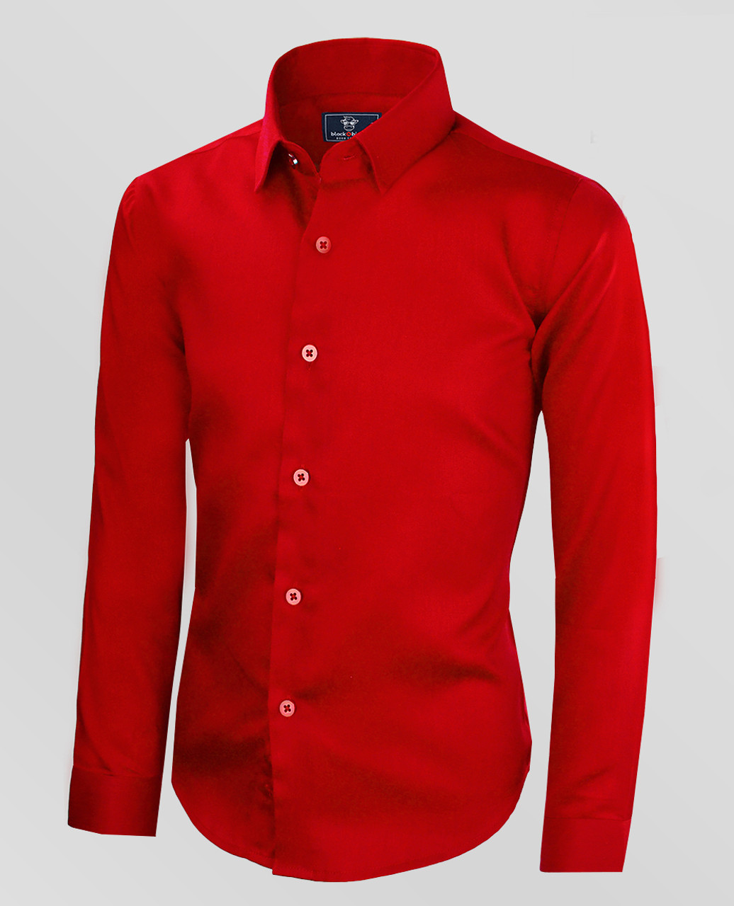 Black Bianco Boys' Signature Sateen Red Dress Shirt