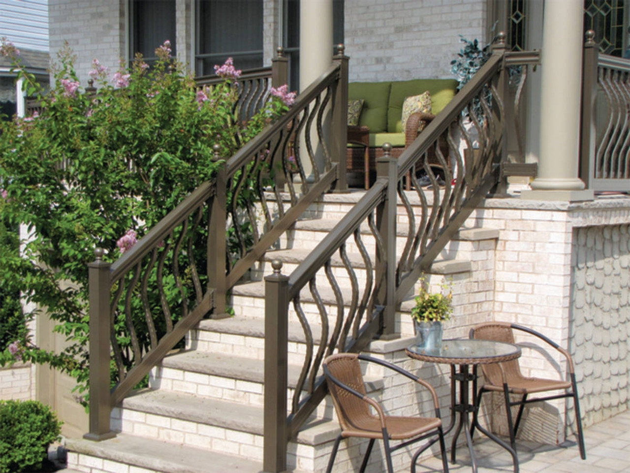 Key Link Lancaster Heavy Duty Aluminum Stair Railing Sections | Stair Railing And Balusters | Brushed Nickel | Free Standing | Inexpensive | Deck | Wood