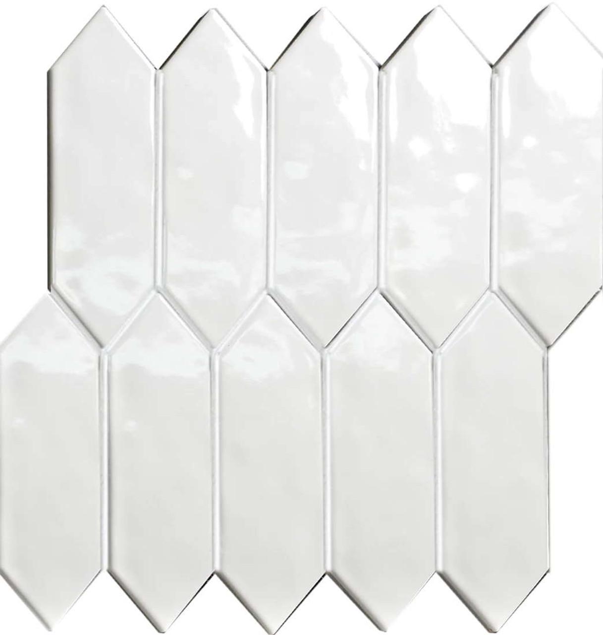 elongated hexagon white mosaic tiles