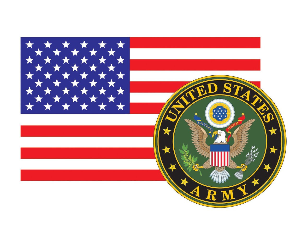 American Flag With Army Emblem Us Army Logo Vinyl Decal Sticker For Cars Trucks Laptops Etc 3 22x5 Morale Tags
