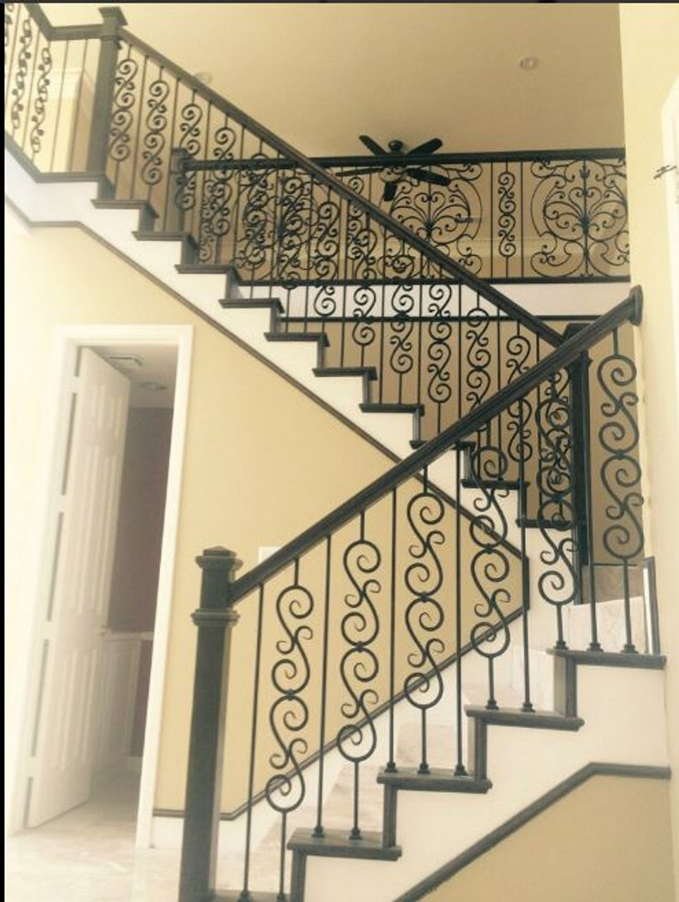 2583 Lt Double Scroll In Tubular Steel Westfire Stair Parts   Tubular Design For Stairs   Stainless Steel   Fully Covered Balcony Grill   Fabrication   Simple   Industrial