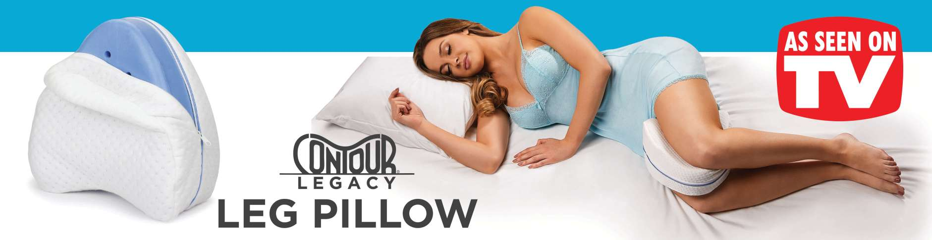 Contour Legacy Leg Pillow for Side Sleepers to help alleviate back pain, hip pain, knee pain and alignment
