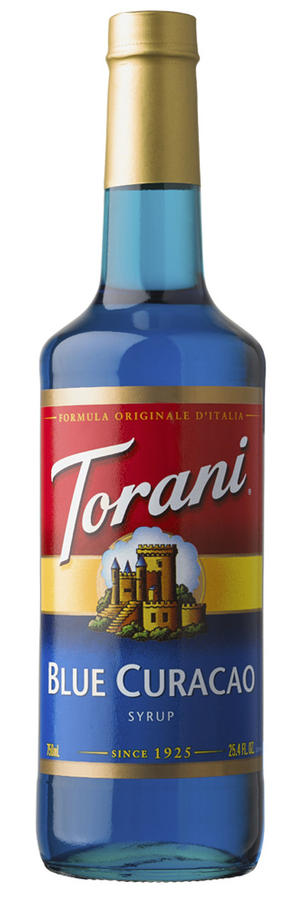 Torani Classic Flavored Syrups - 750 ml Glass Bottle: Blue Curacao - SeriousSips.com