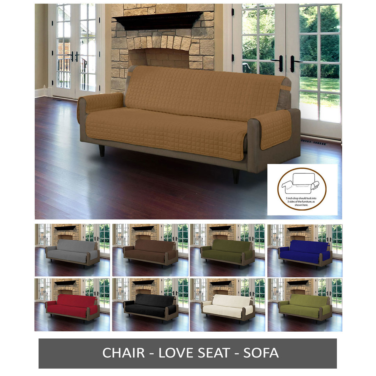 quilted microsuede sofa cover diy narrow table furniture protector microfiber pet dog couch with tucks strap