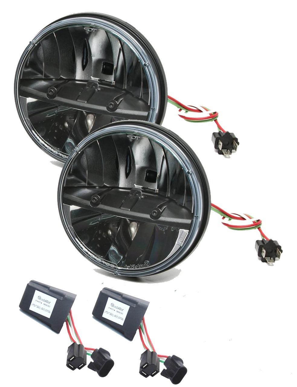 medium resolution of truck lite 27270c jeep jk kit 7 round led headlight pair anti flicker harness