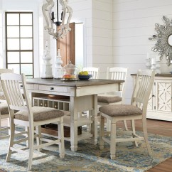 Antique White Dining Chairs Fishing Fighting Chair The Bolanburg 8 Pc Rectangular Counter Height Set