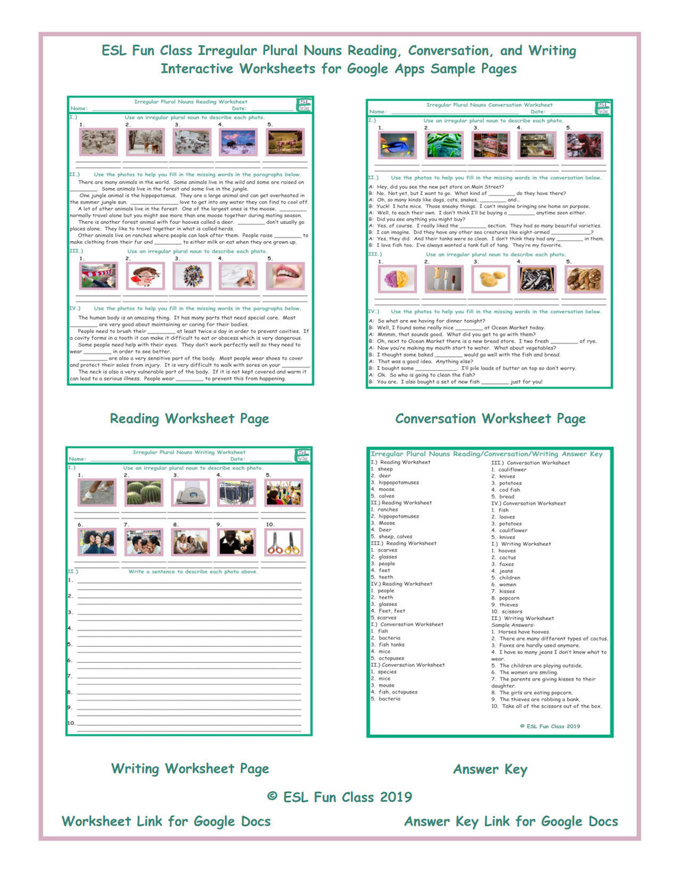 Irregular Plural Nouns Read-Converse-Write Interactive Worksheets for  Google Apps LINKS - Amped Up Learning [ 1280 x 989 Pixel ]
