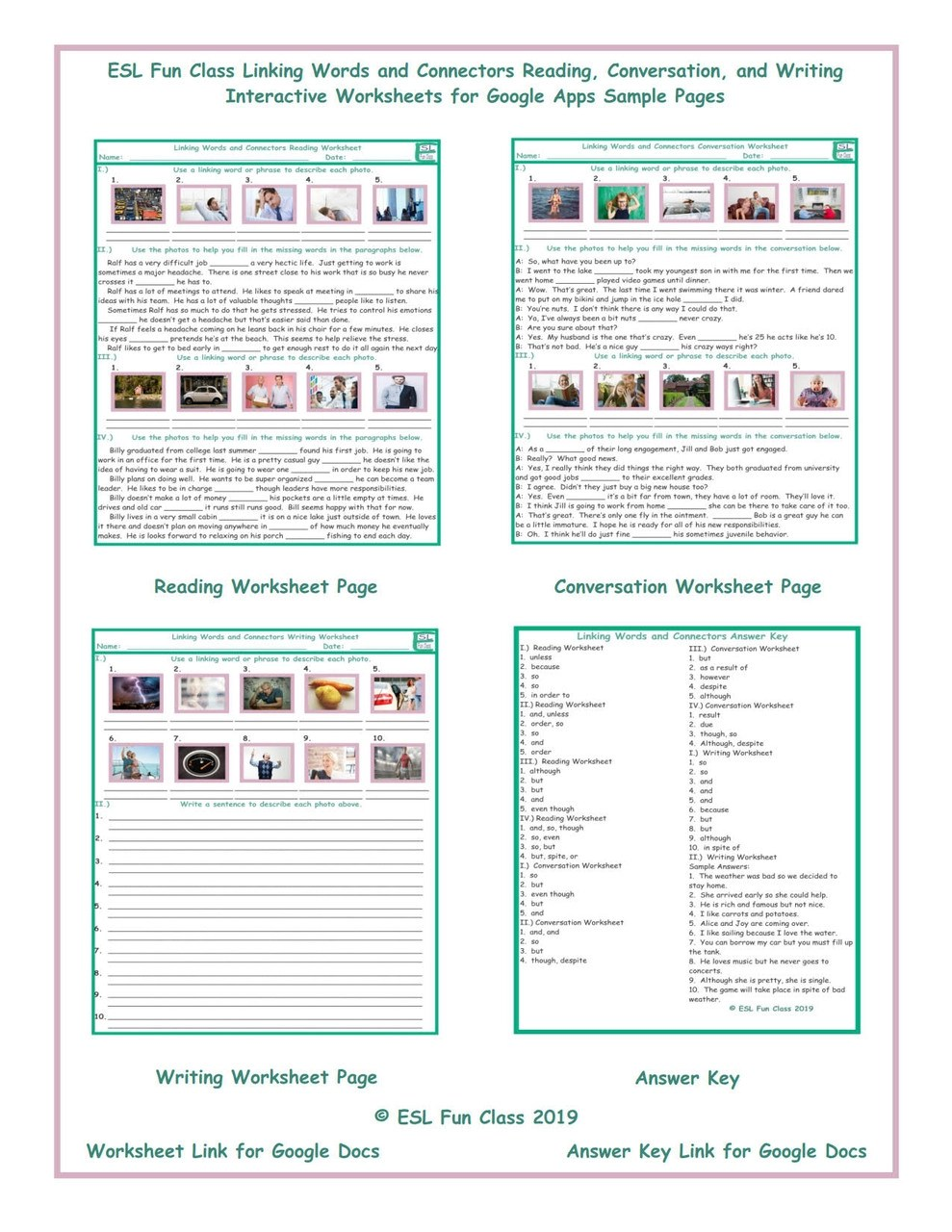 Linking Words and Connectors Read-Converse-Write Interactive Worksheets for  Google Apps LINKS - Amped Up Learning [ 1280 x 989 Pixel ]