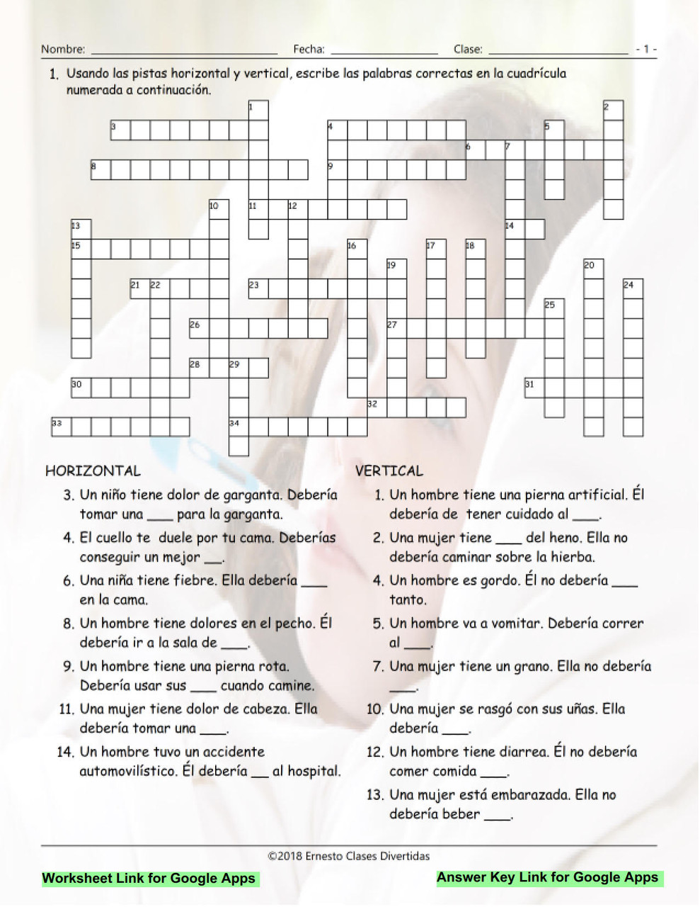 small resolution of Advice Modals Interactive Spanish Crossword-Google Apps - Amped Up Learning