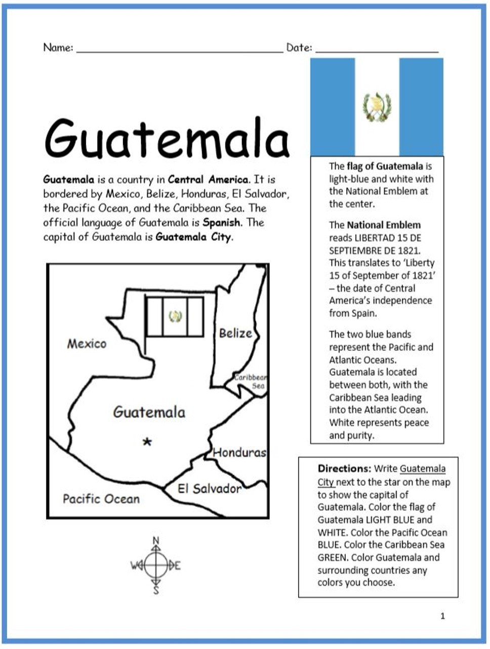Color and Learn Geography - Guatemala - Amped Up Learning [ 1280 x 968 Pixel ]