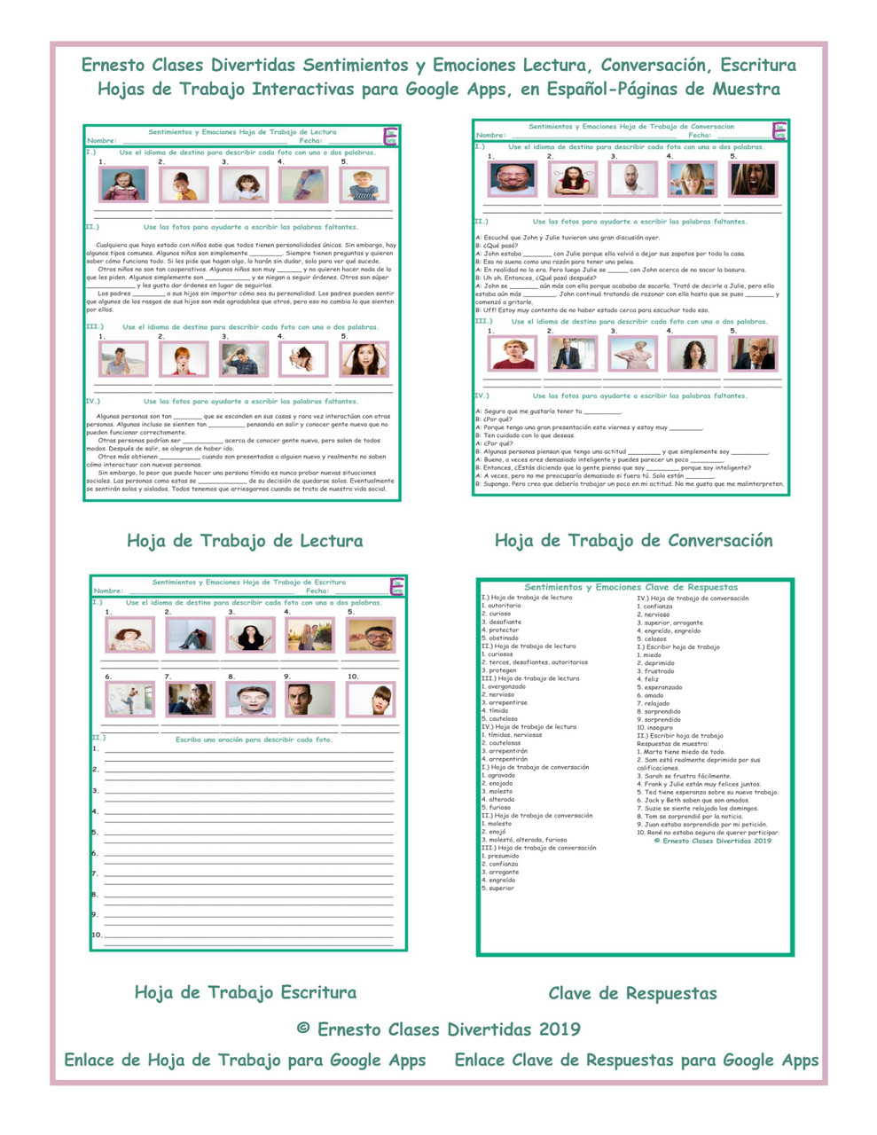 Feelings and Emotions Read-Converse-Write Spanish Interactive Worksheets-Google  Apps - Amped Up Learning [ 1280 x 989 Pixel ]