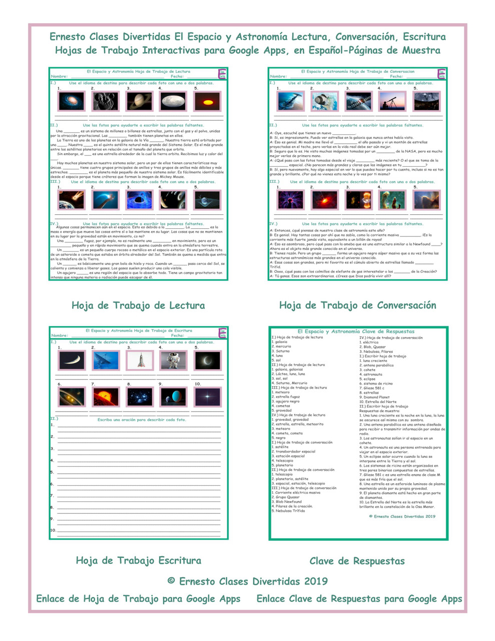 Space and Astronomy Read-Converse-Write Spanish Interactive Worksheets-Google  Apps - Amped Up Learning [ 1280 x 989 Pixel ]