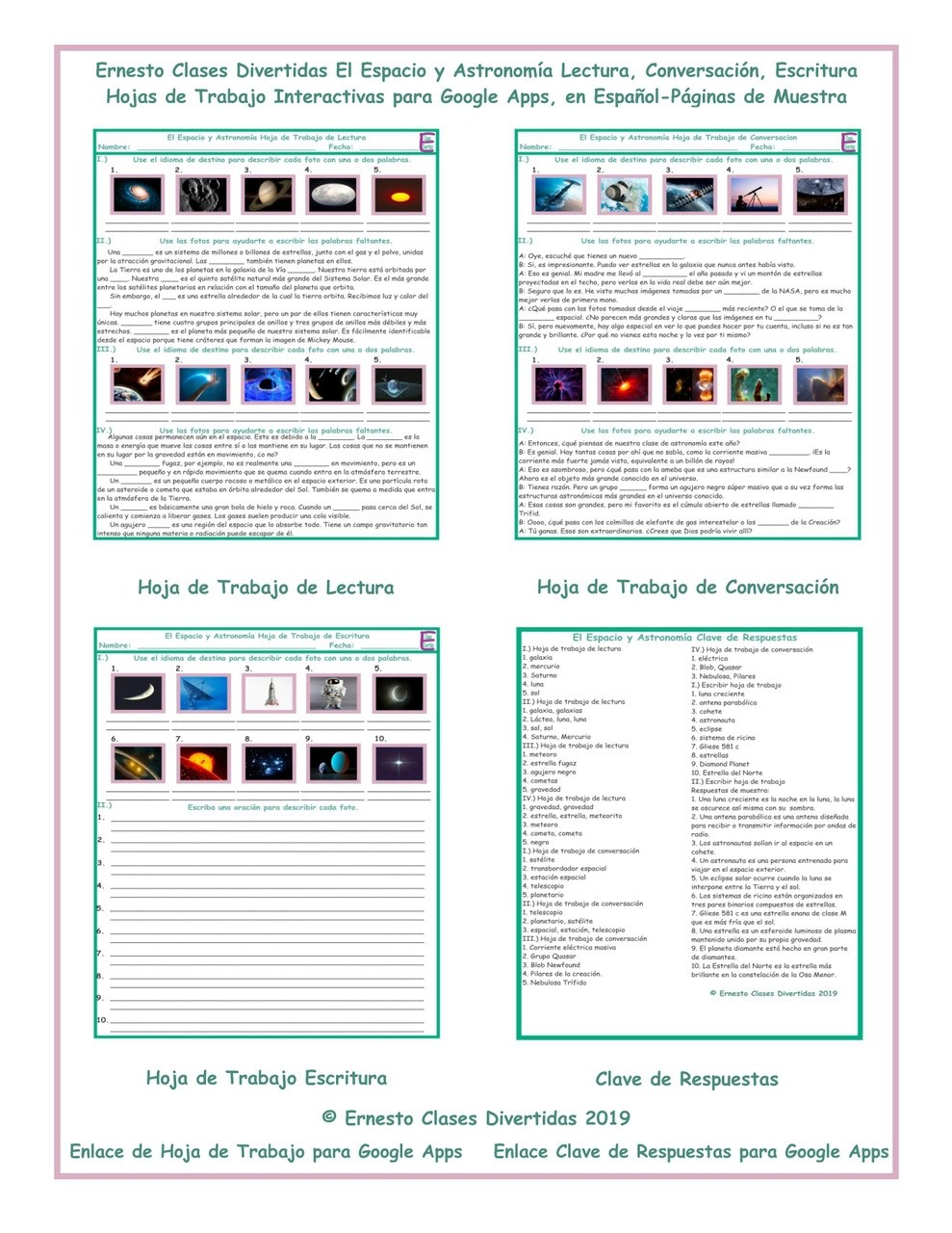 hight resolution of Space and Astronomy Read-Converse-Write Spanish Interactive Worksheets-Google  Apps - Amped Up Learning
