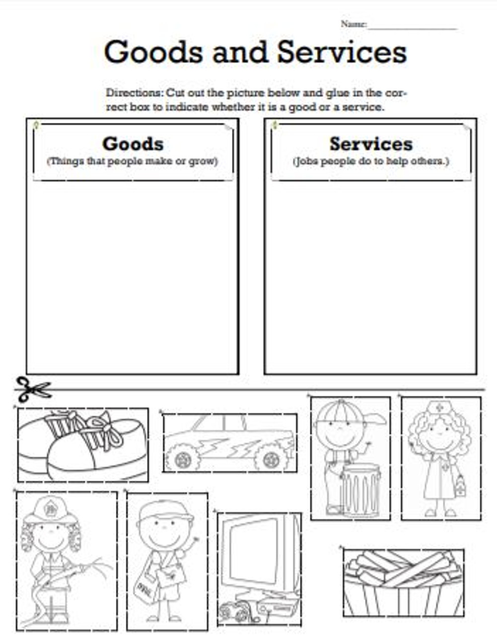 small resolution of Goods and Services picture sort - Amped Up Learning
