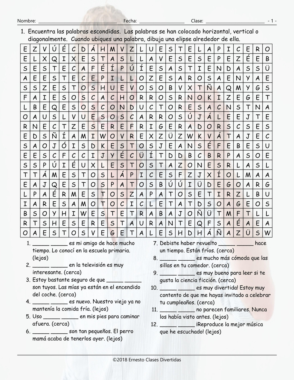 Demonstrative Adjectives Spanish Word Search Worksheet - Amped Up Learning [ 1280 x 989 Pixel ]