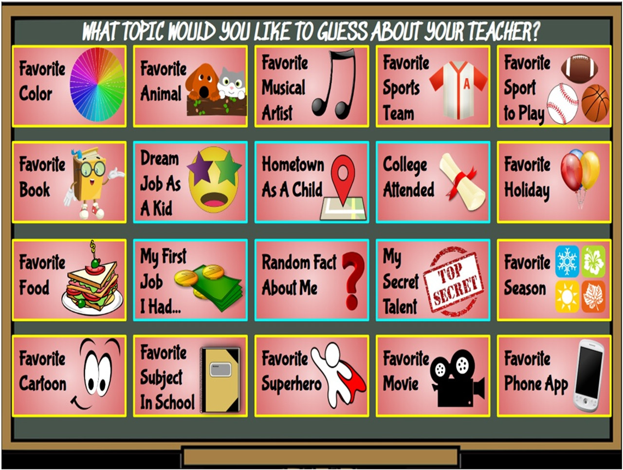 medium resolution of Icebreaker- The \Get To Know Your Teacher\ Game! On Google Slides