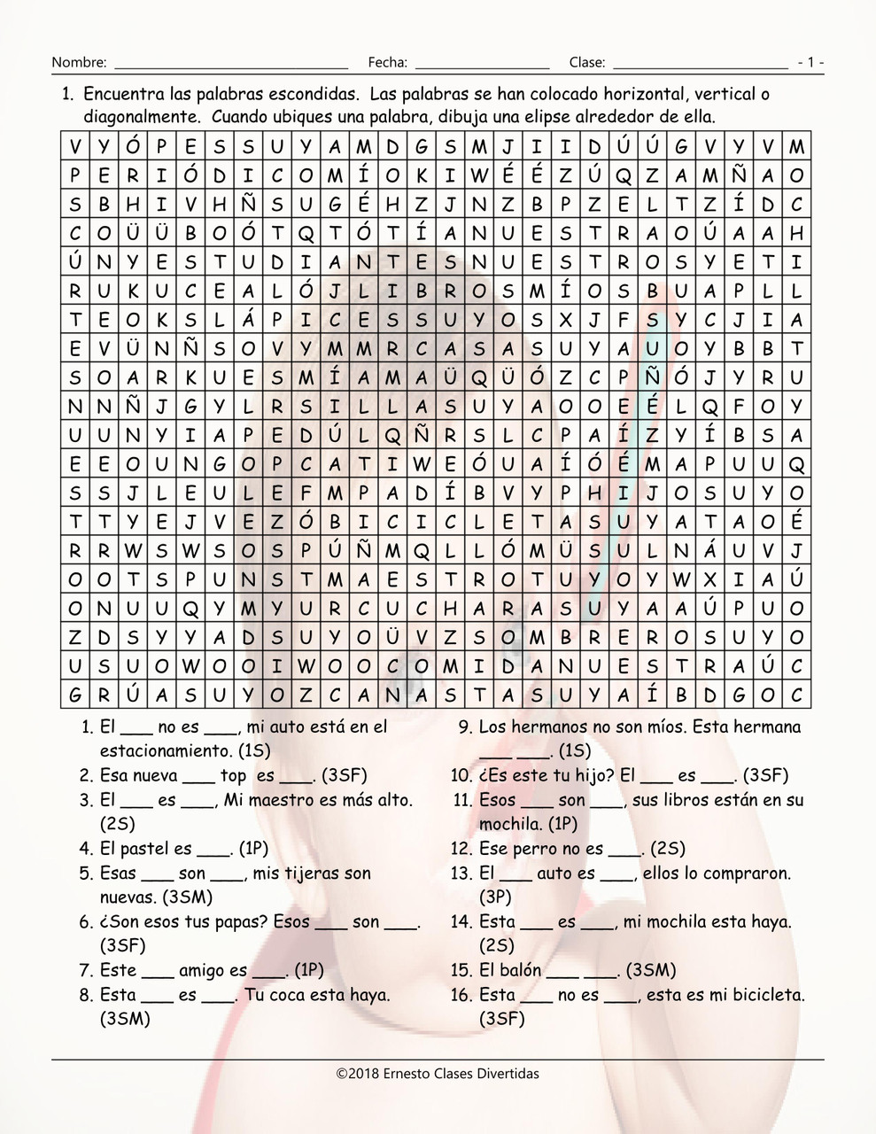 Possessive Pronouns Spanish Word Search Worksheet - Amped Up Learning [ 1280 x 989 Pixel ]