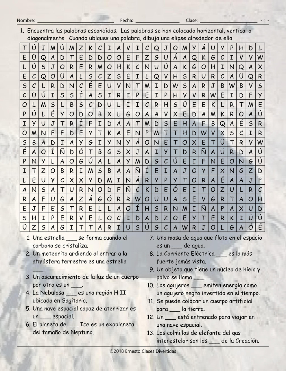 Space and Astronomy Spanish Word Search Worksheet - Amped Up Learning [ 1280 x 989 Pixel ]
