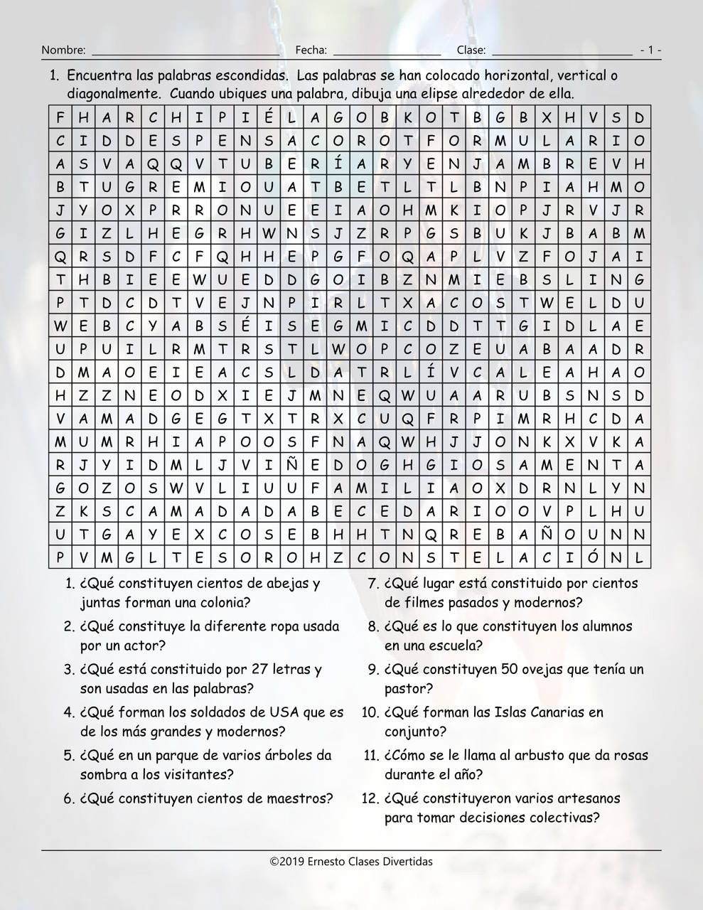Collective Nouns Spanish Word Search Worksheet - Amped Up Learning [ 1280 x 989 Pixel ]