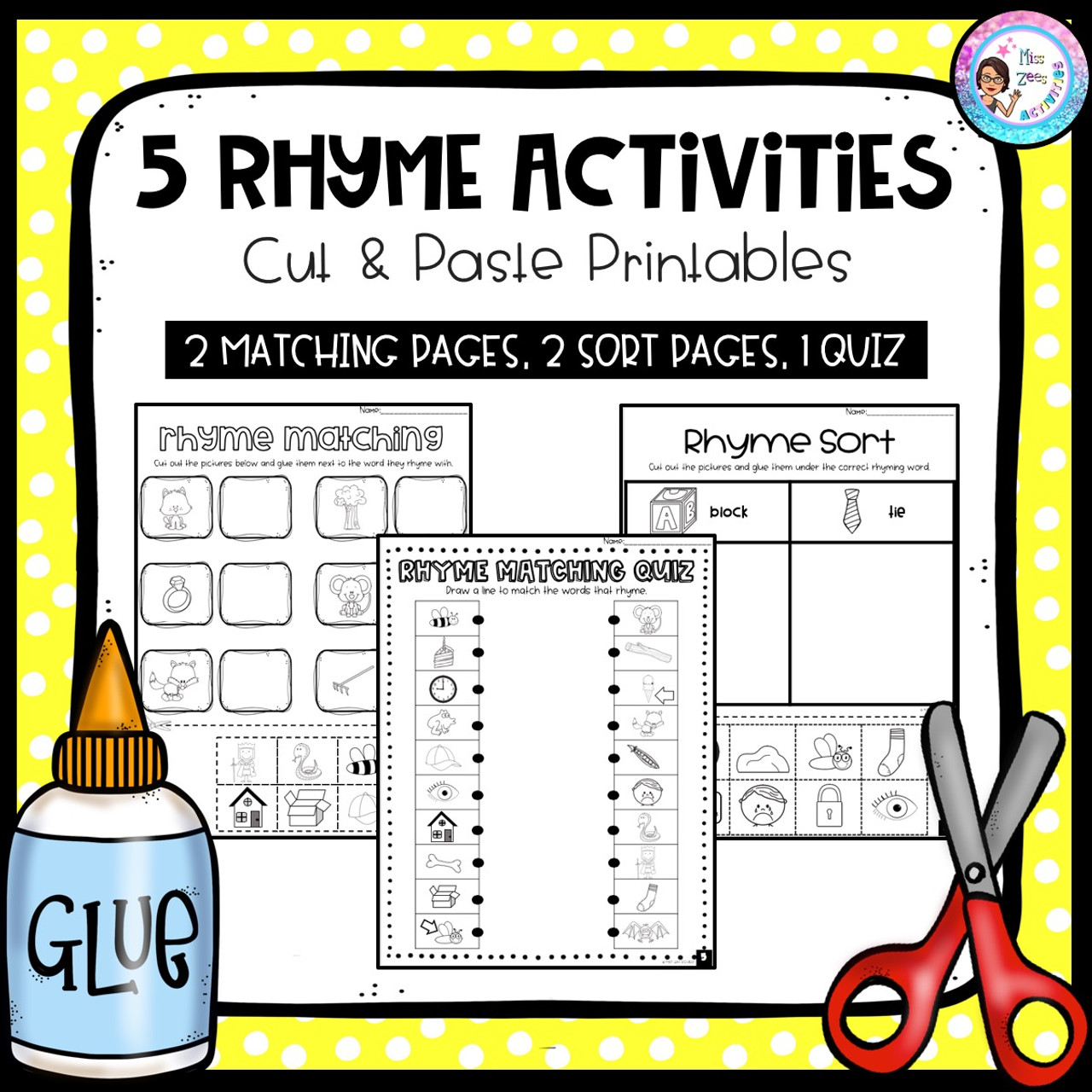 5 Rhyme Activities: Cut \u0026 Paste Printables - Amped Up Learning [ 1280 x 1280 Pixel ]