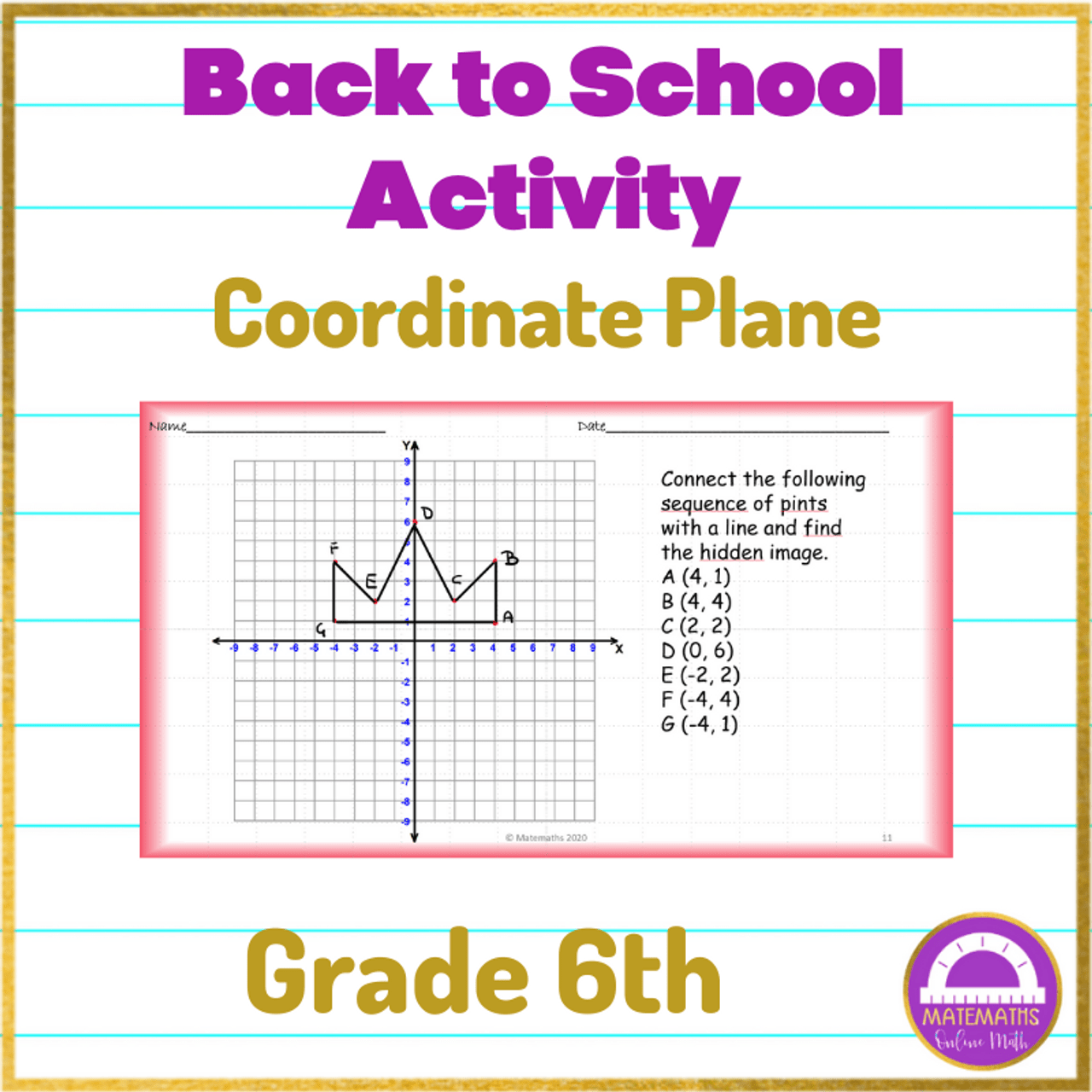 small resolution of Distance Learning Math Back to School Activity Coordinate Plane