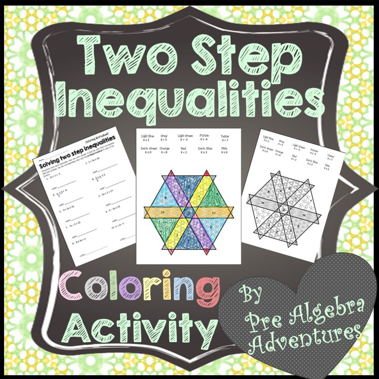 Two Step Inequalities Coloring Worksheet - Amped Up Learning [ 1280 x 1280 Pixel ]