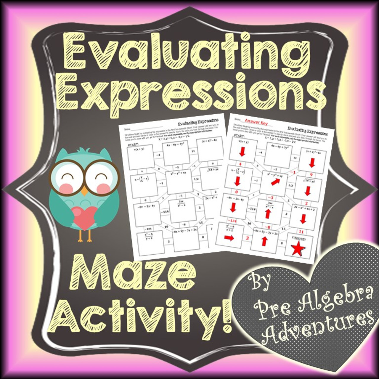 Evaluating Expressions Maze Activity - Amped Up Learning [ 1280 x 1280 Pixel ]