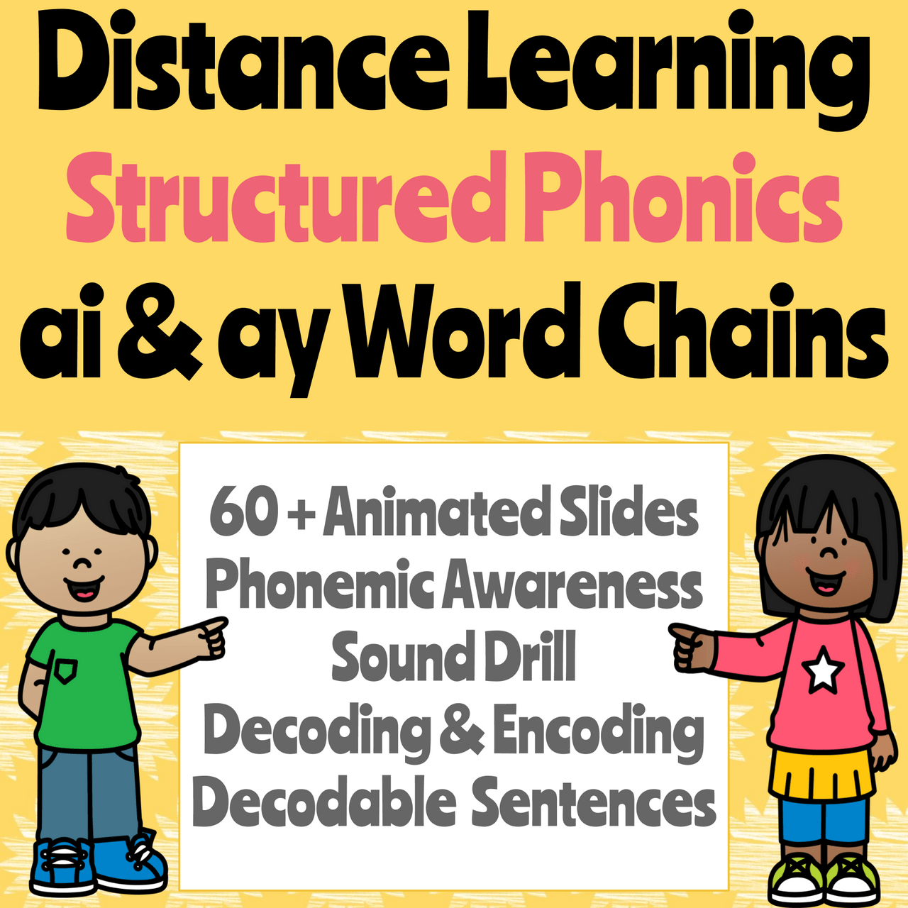 Distance Learning Structured Phonics -AI \u0026 -AY Word Chains (Remote Ready  Resource) [ 1280 x 1280 Pixel ]