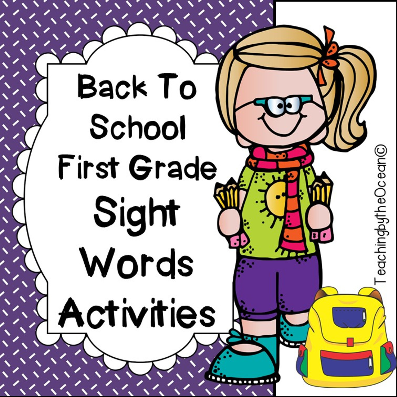 First Grade Sight Words Worksheets - Back to School Themed - Amped Up  Learning [ 1280 x 1280 Pixel ]