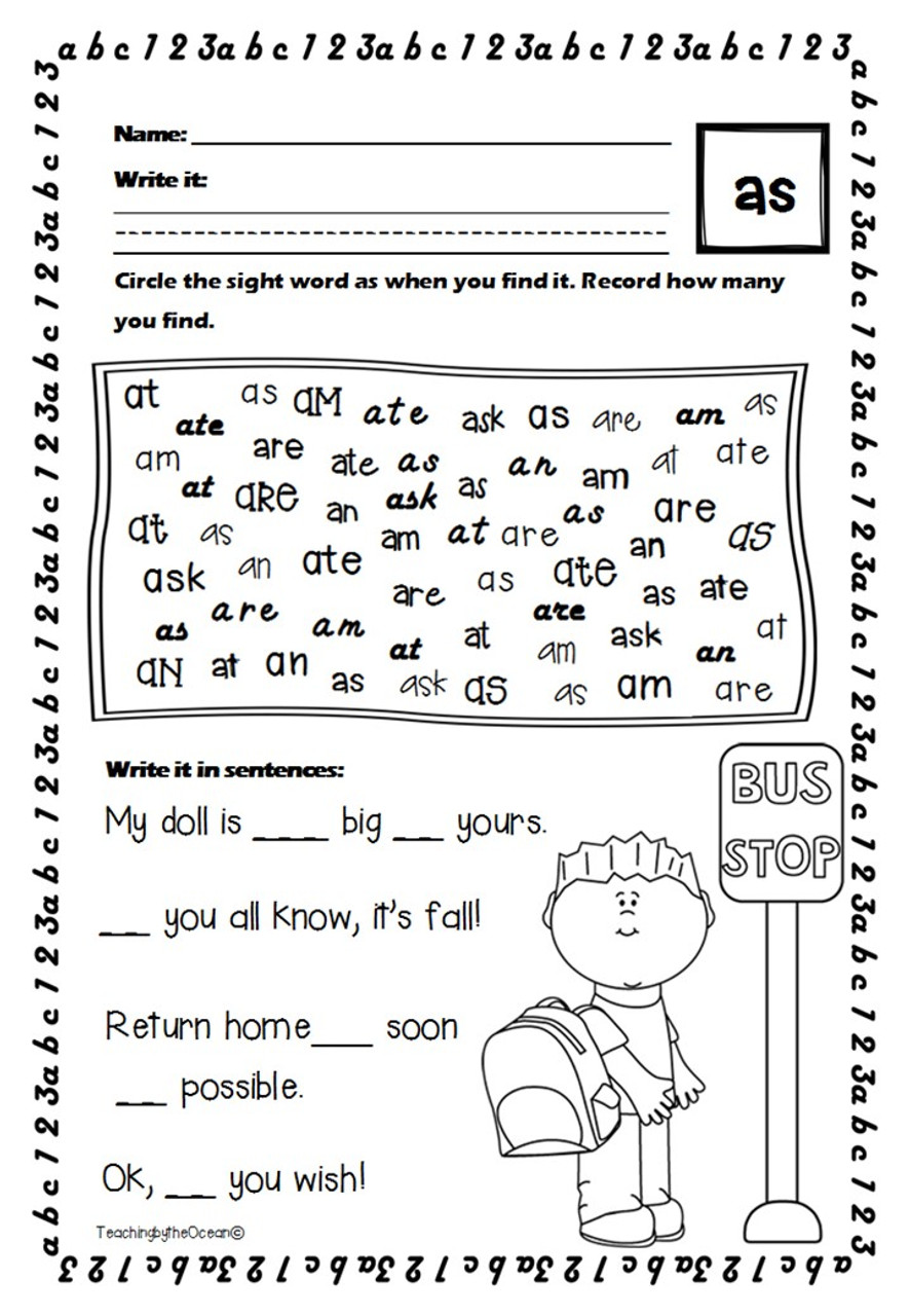 First Grade Sight Words Worksheets - Back to School Themed - Amped Up  Learning [ 1280 x 886 Pixel ]