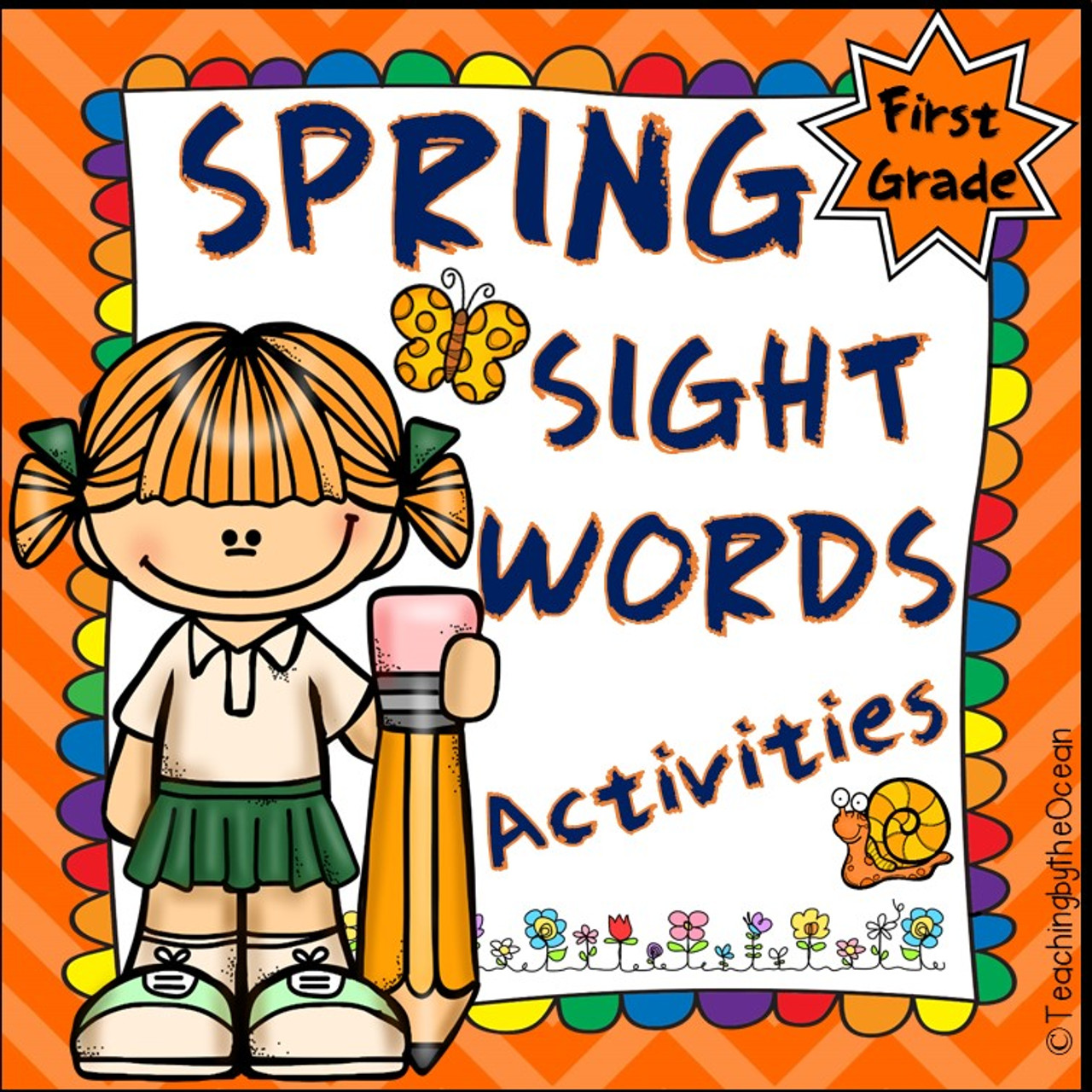 First Grade Sight Words Worksheets - Spring Themed - Amped Up Learning [ 1280 x 1280 Pixel ]