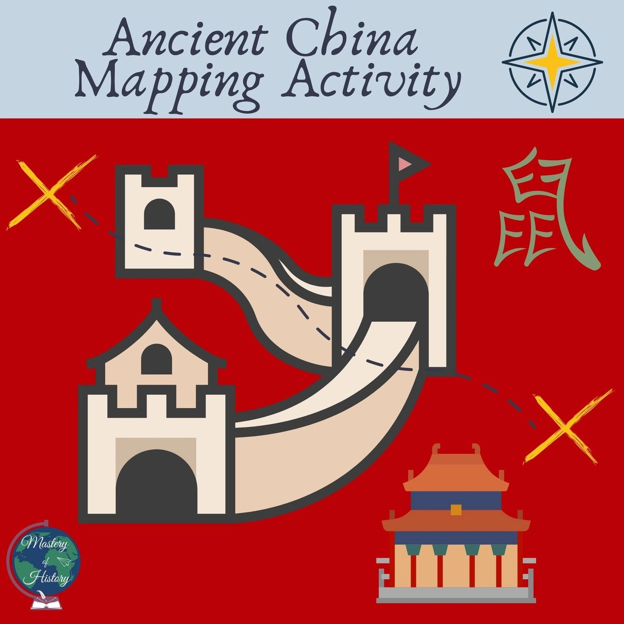 Ancient China Mapping Activity [ 1280 x 1280 Pixel ]