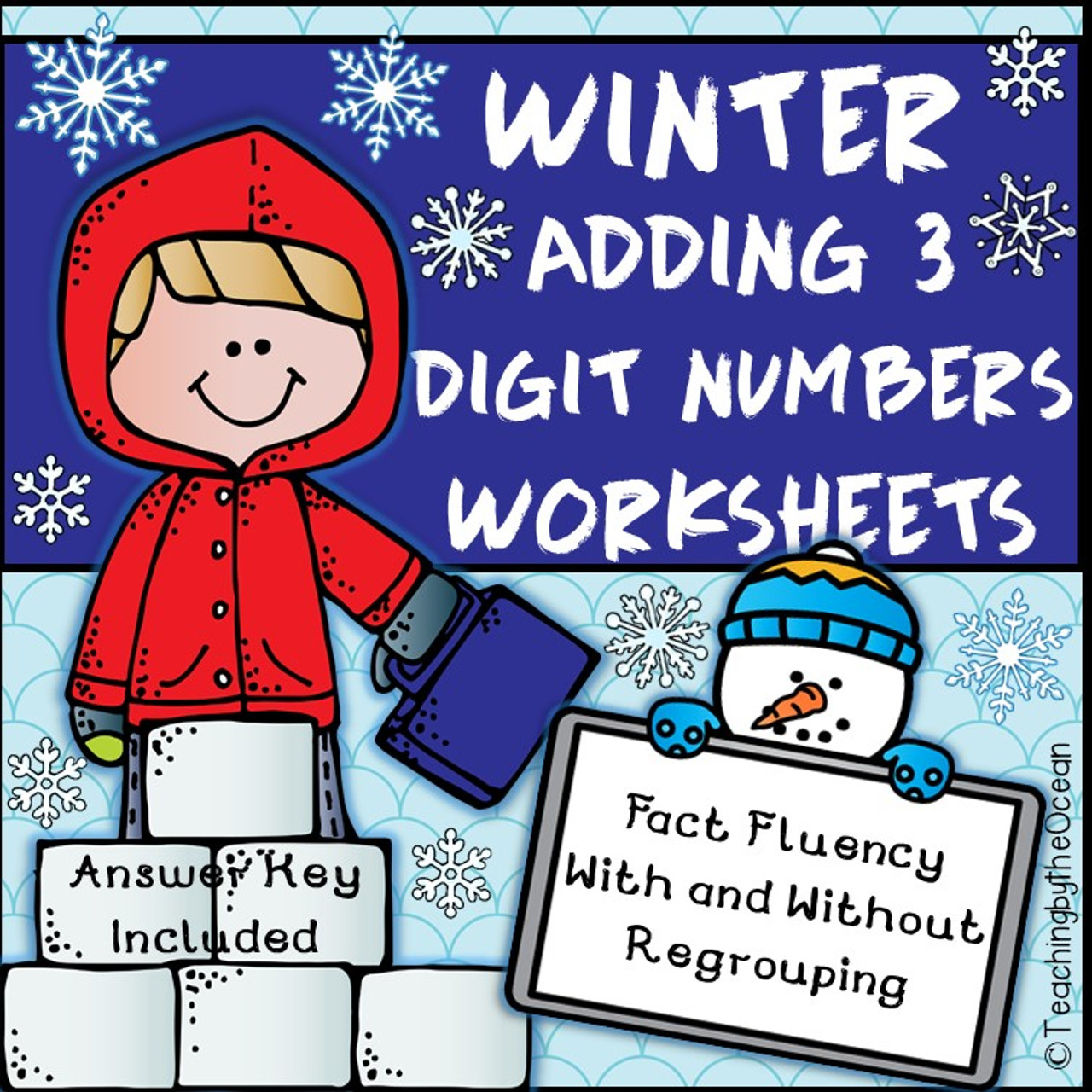 Adding 3 Digit Numbers Worksheets - Winter / Christmas Themed - Amped Up  Learning [ 1280 x 1280 Pixel ]