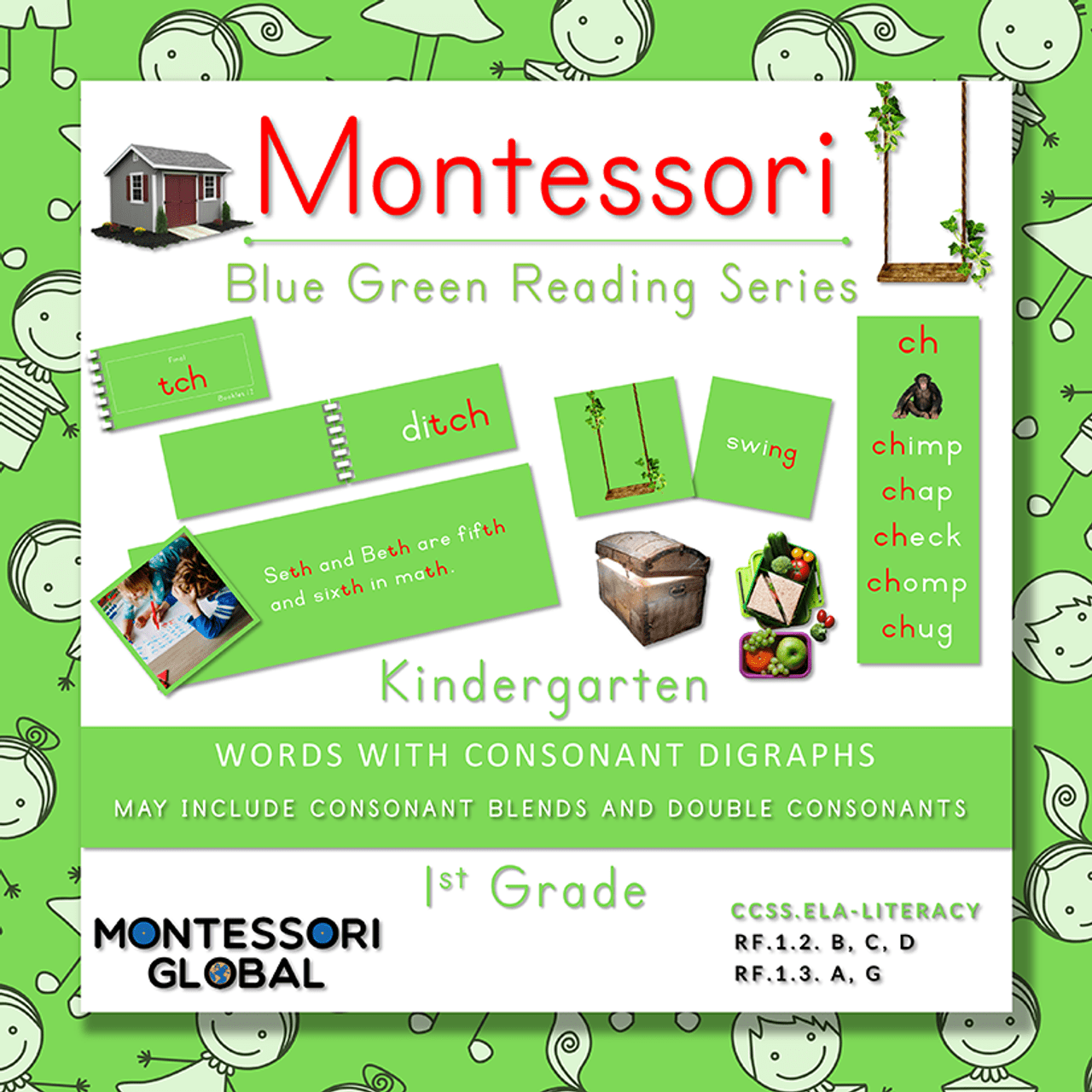 Montessori Blue Green Reading Series - Consonant Blends [ 1280 x 1280 Pixel ]