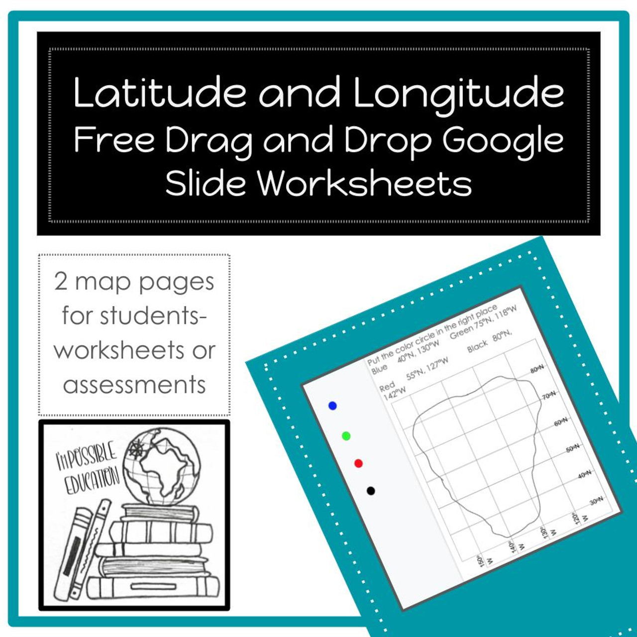 Latitude and Longitude Worksheets- Digital Drag and Drop - FREE [ 1280 x 1280 Pixel ]