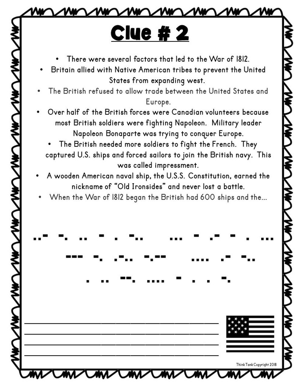 small resolution of War of 1812 ESCAPE ROOM - Amped Up Learning