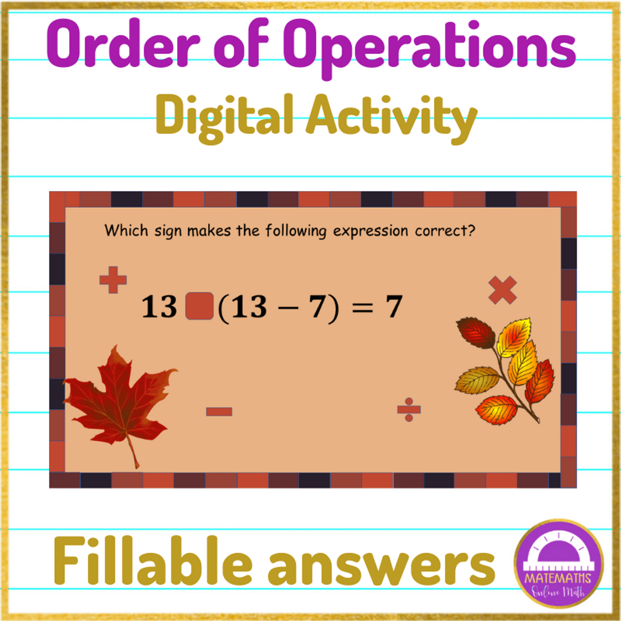 Order of Operations Worksheets Distance Learning [ 1280 x 1280 Pixel ]