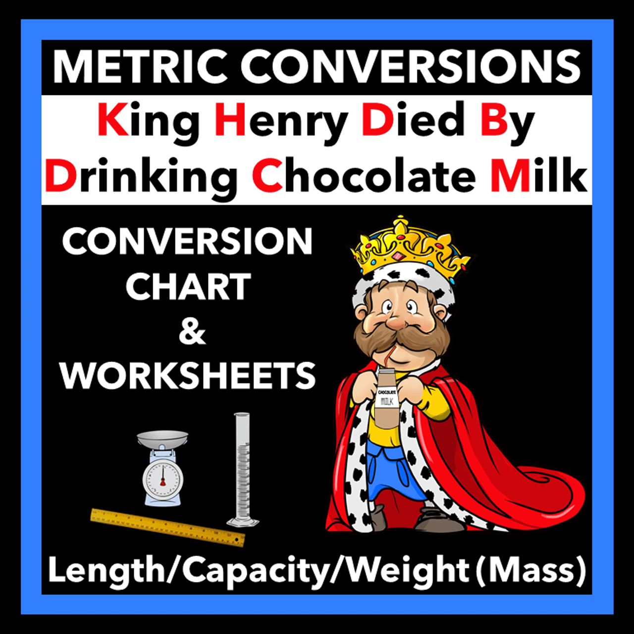 Metric System Worksheets and Conversion Chart - King Henry Died By Drinking  Chocolate Milk - Amped Up Learning [ 1280 x 1280 Pixel ]