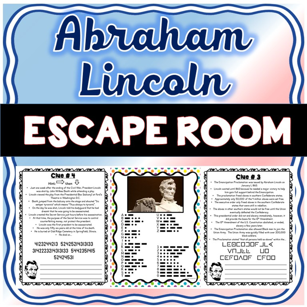 Abraham Lincoln ESCAPE ROOM! - Amped Up Learning [ 1280 x 1280 Pixel ]