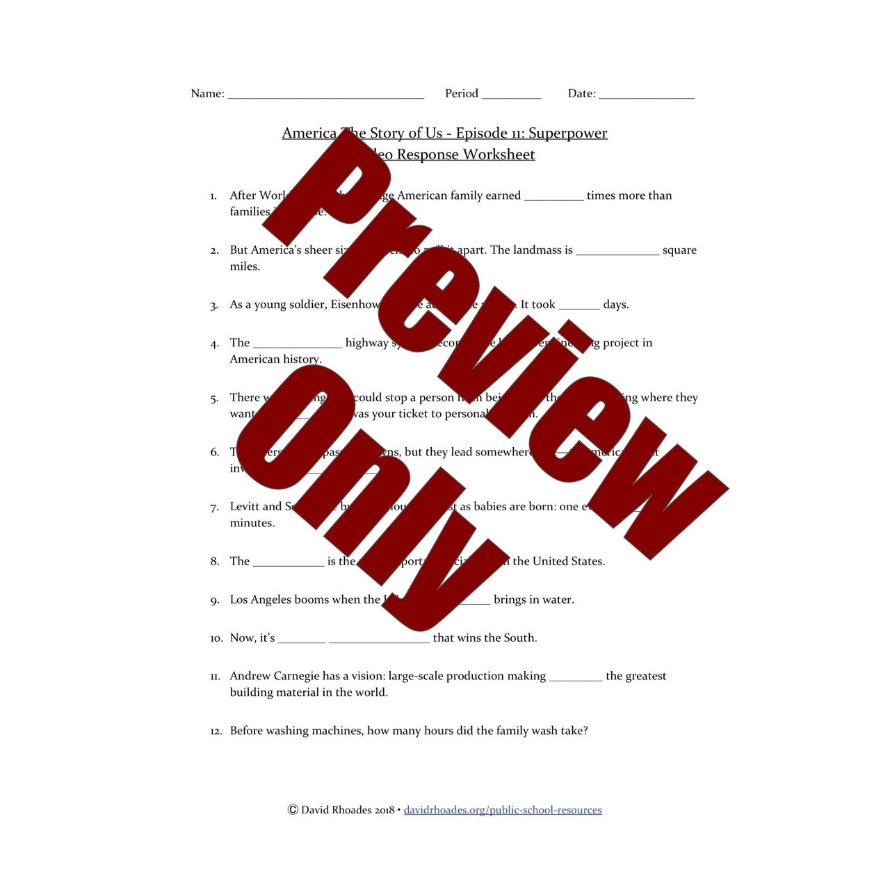 medium resolution of America The Story of Us - Episode 11: Superpower - Video Response Worksheet  \u0026 Key (Editable) - Amped Up Learning