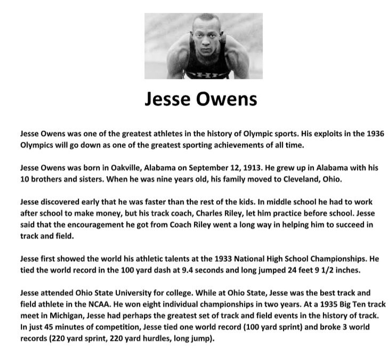 Jesse Owens Biography Article and Assignment Worksheet - Amped Up Learning [ 1135 x 1280 Pixel ]