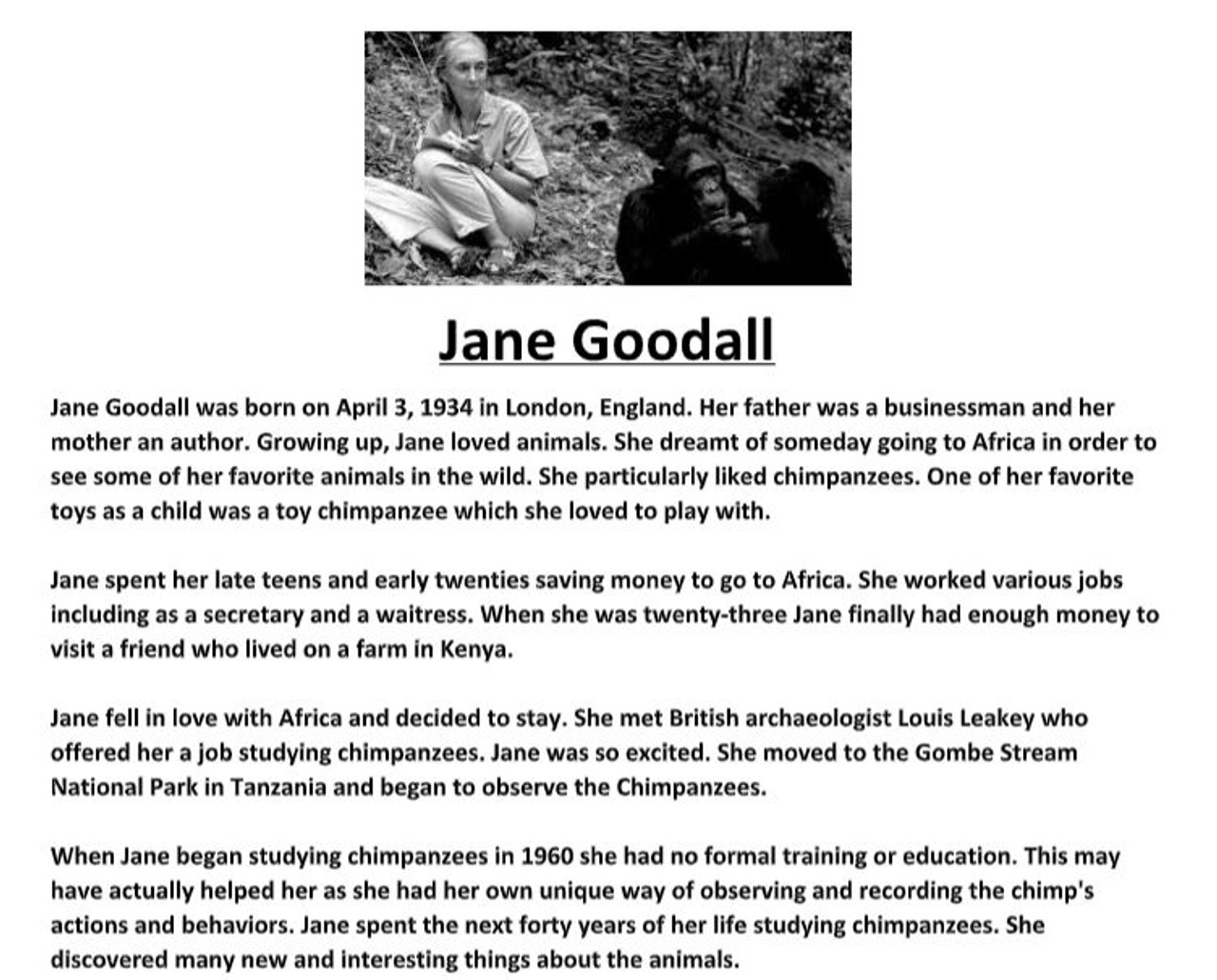 Jane Goodall Biography Worksheet - Amped Up Learning [ 1031 x 1280 Pixel ]