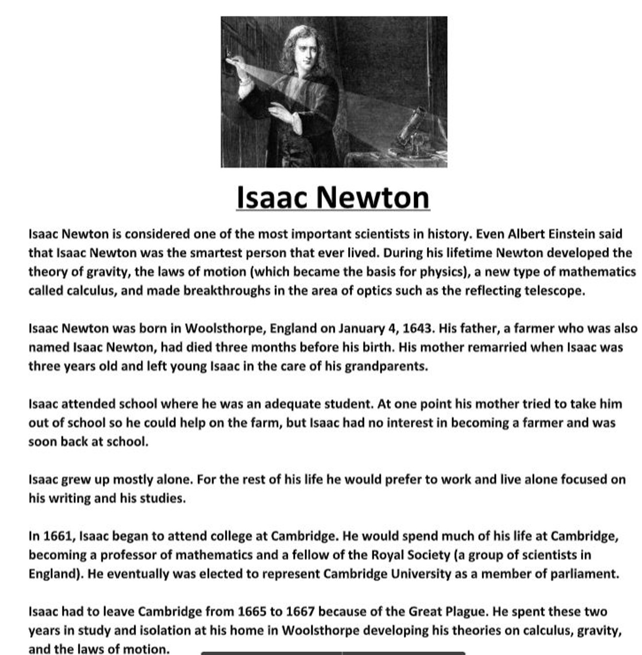 Isaac Newton Biography Worksheet - Amped Up Learning [ 1280 x 1254 Pixel ]