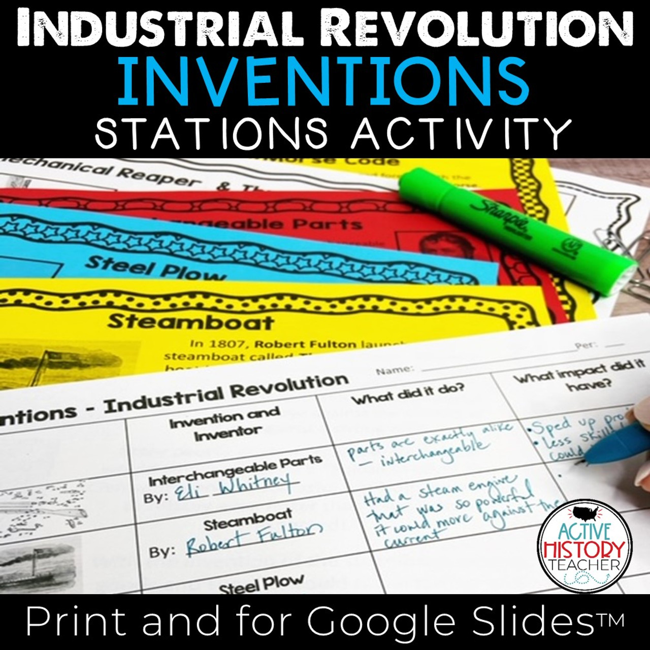 Industrial Revolution Inventions: Stations Activity - Amped Up Learning [ 1280 x 1280 Pixel ]
