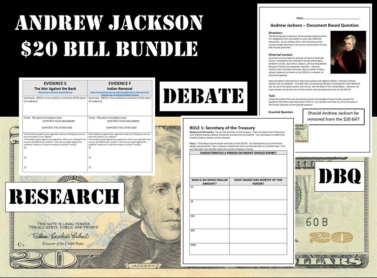small resolution of Andrew Jackson $20 Bill Bundle - Webquest