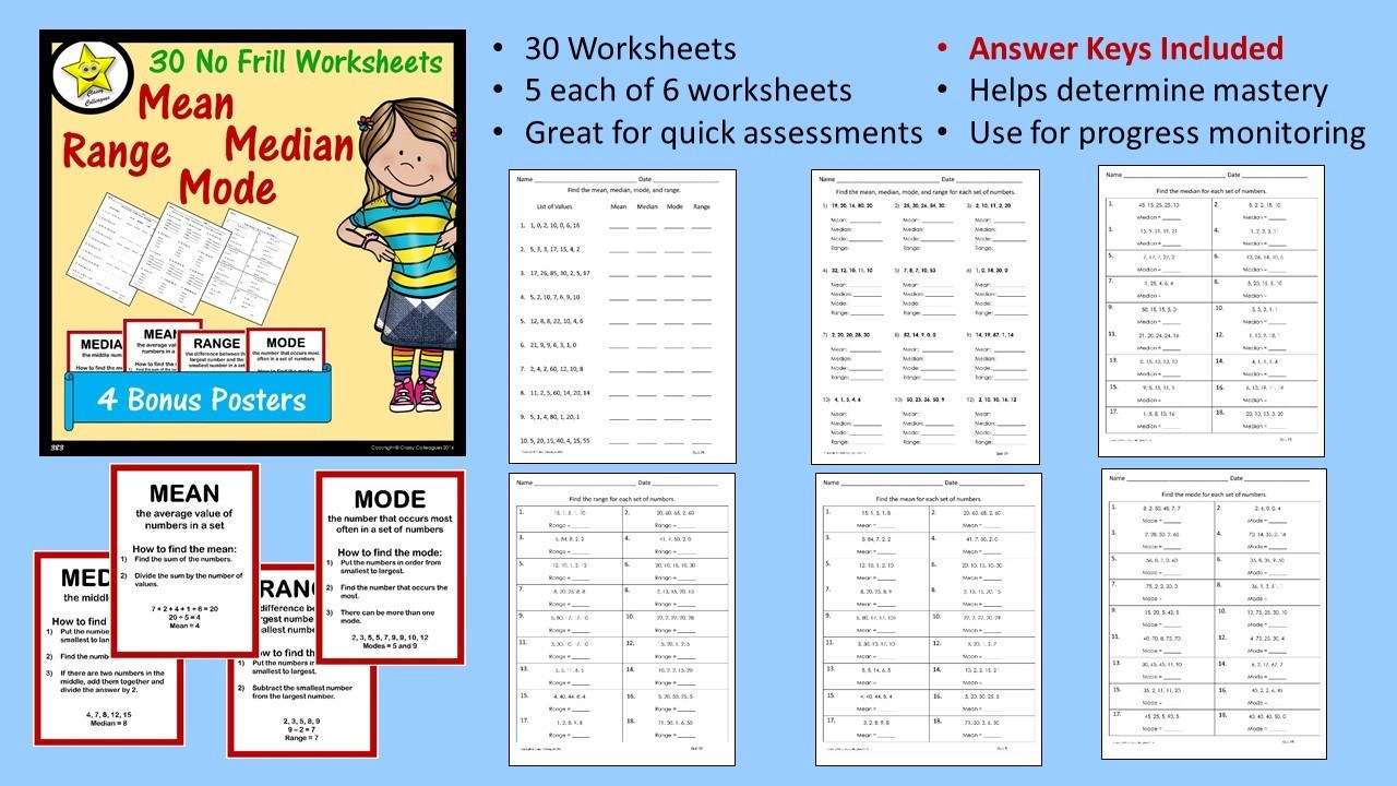 small resolution of Answer Key Mean Median Mode Range Worksheets Pdf