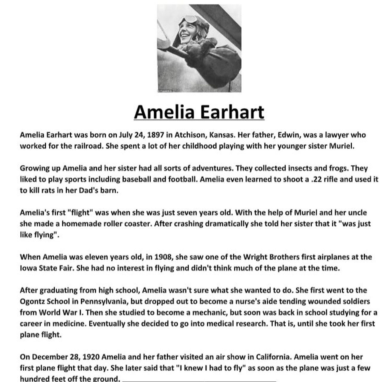 Amelia Earhart Biography and Assignment Worksheet - Amped Up Learning [ 1280 x 1275 Pixel ]