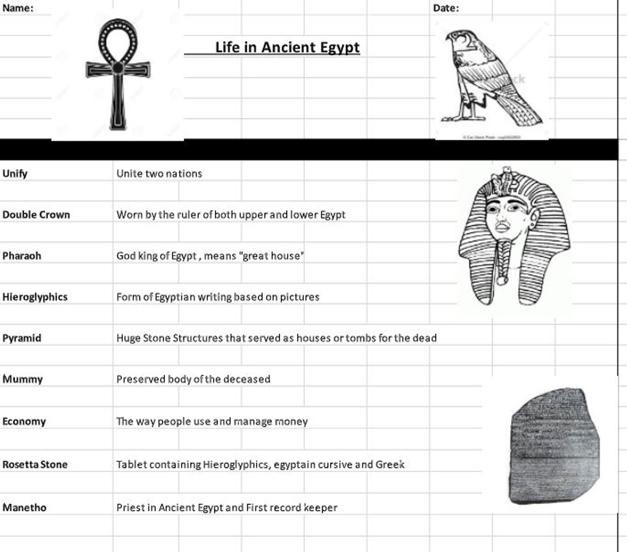 Life in Ancient Egypt Vocabulary Worksheet and Creative Writing - Amped Up  Learning [ 1127 x 1280 Pixel ]