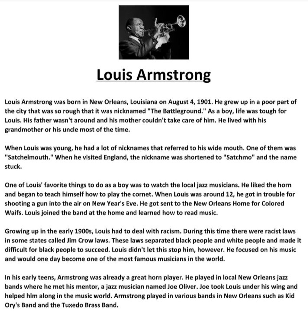 Louis Armstrong Biography Article and Assignment Worksheet - Amped Up  Learning [ 1280 x 1269 Pixel ]