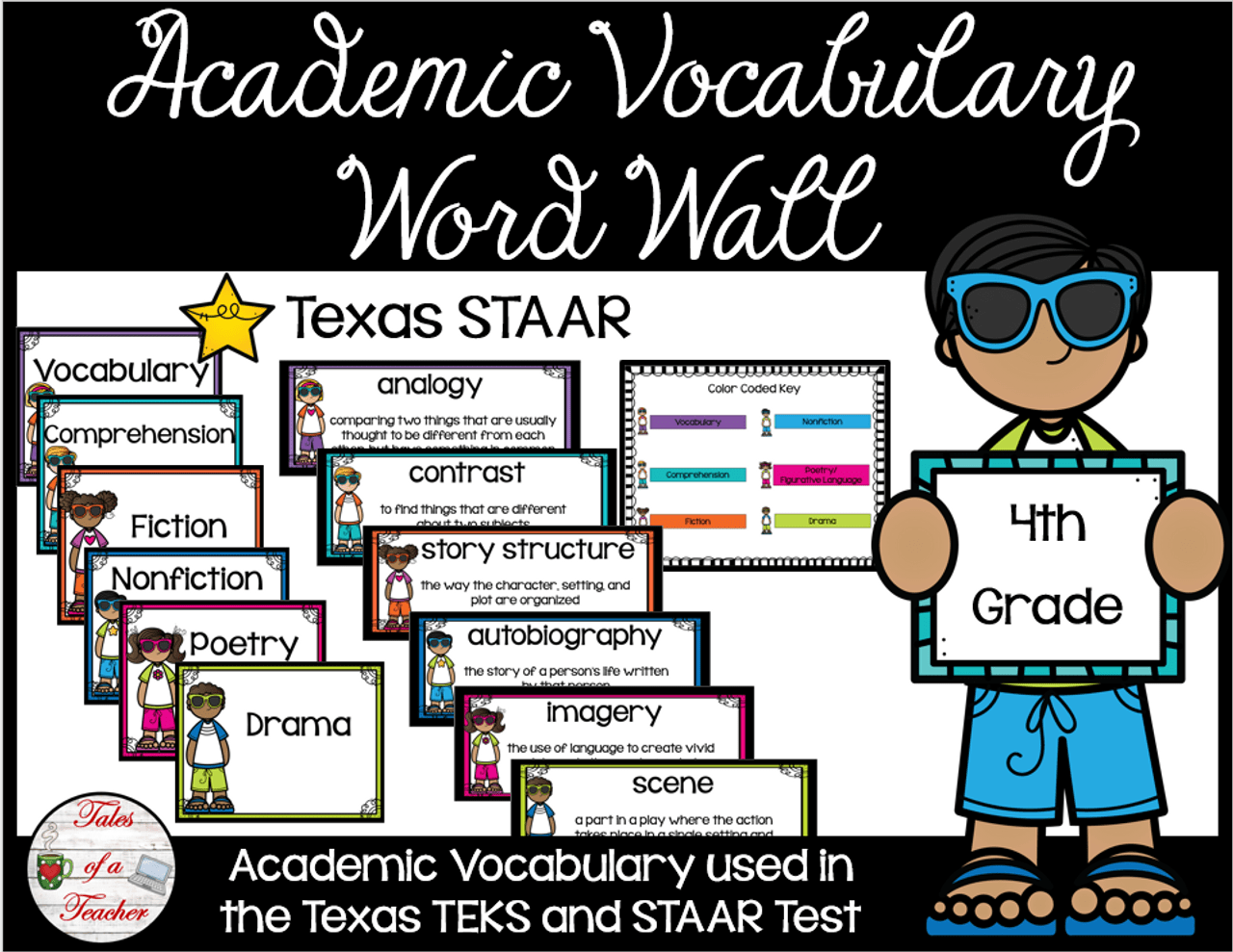 4th Grade STAAR Reading Academic Vocabulary Word Wall - Amped Up Learning [ 989 x 1280 Pixel ]